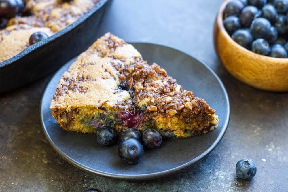 Skillet Blueberry Coffee Cake (gluten free, grain free, paleo) -- www.savorylotus.com