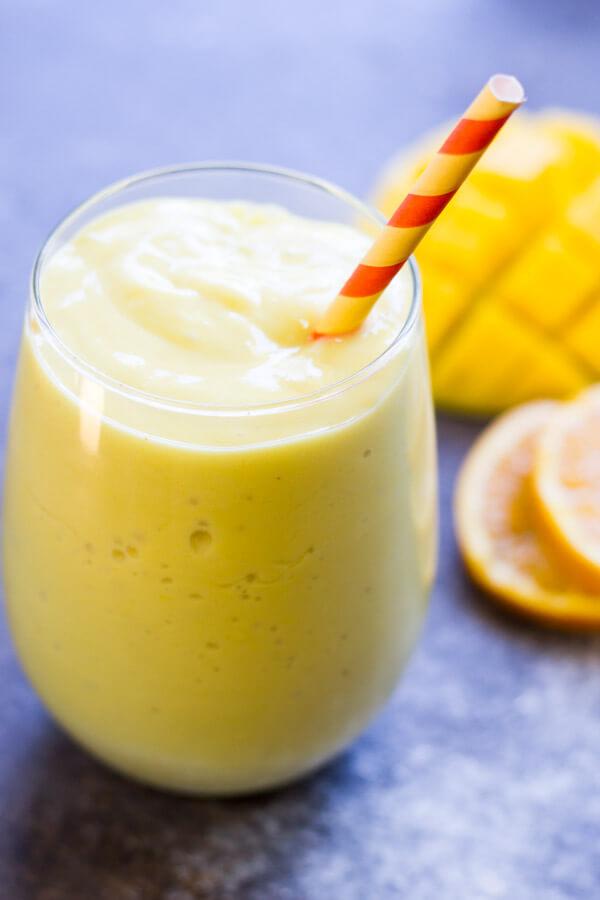 Creamy Mango Orange Smoothie (dairy free) - www.savorylotus.com