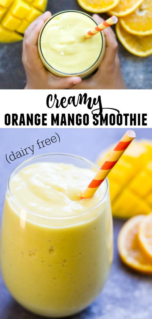 Creamy Mango Orange Smoothie (dairy free)   www.savorylotus.com