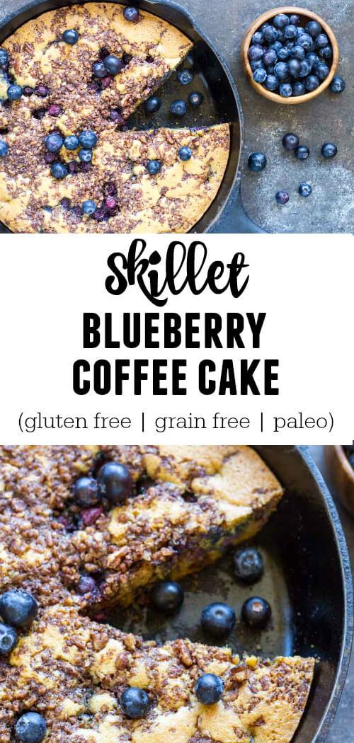 Skillet Blueberry Coffee Cake (gluten free, grain free, paleo) - www.savorylotus.com