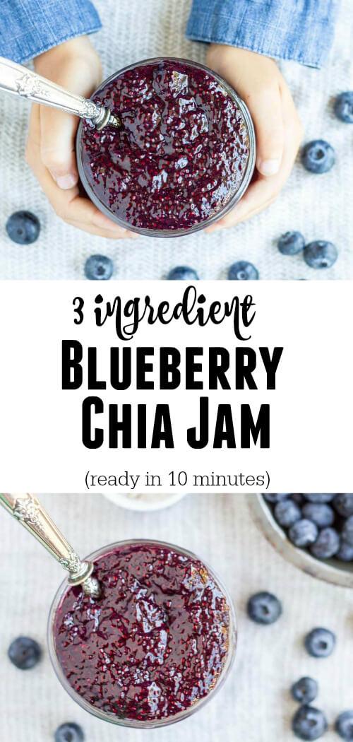 Easy 3 Ingredient Blueberry Chia Jam - www.savorylotus.com