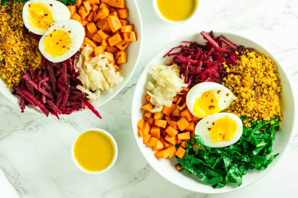 Comfort Bowl with Spicy Turmeric Cauliflower Rice, Sweet Potatoes, and Greens \ www.savorylotus.com