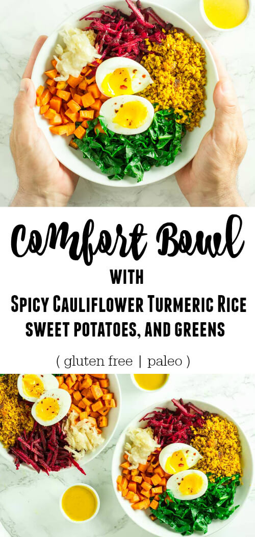 Comfort Bowl with Spicy Turmeric Cauliflower Rice, Sweet Potatoes, and Greens - www.savorylotus.com