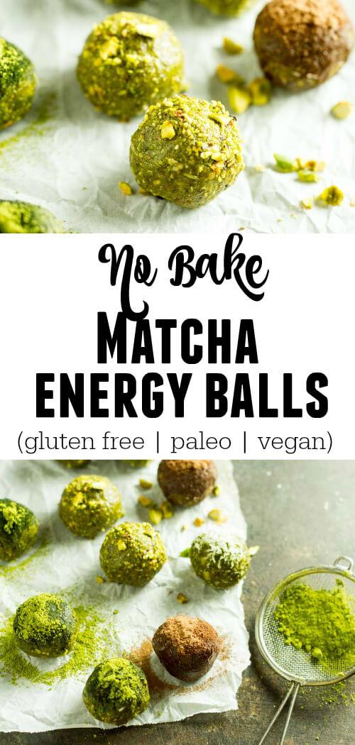 No Bake Matcha Energy Balls (gluten free, paleo, vegan) - www.savorylotus.com