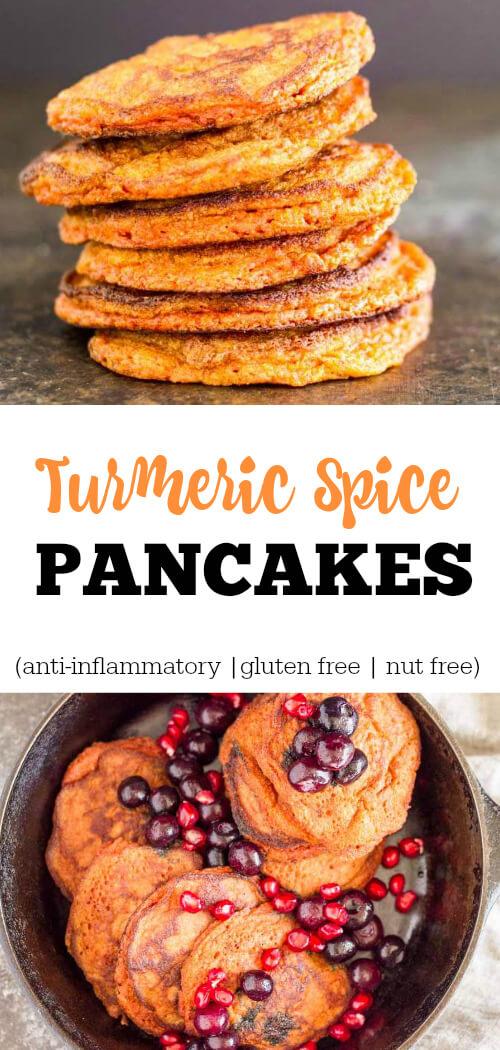Turmeric Spice Pancakes (gluten free and nut free) - www.savorylotus.com