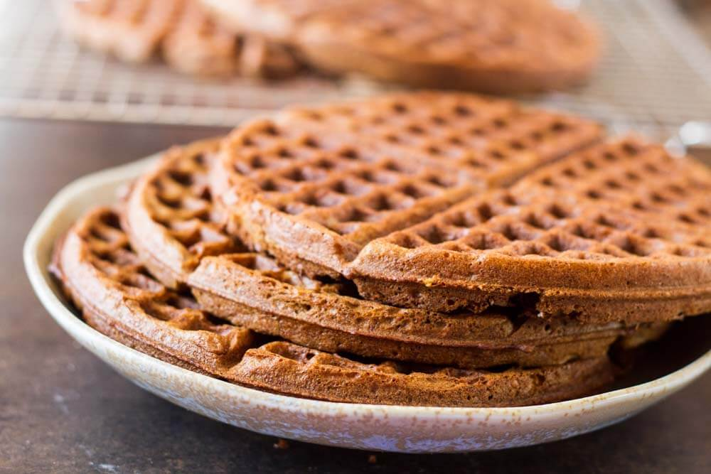 Gingerbread Waffles with Maple Cream (gluten free) \\\ www.savorylotus.com