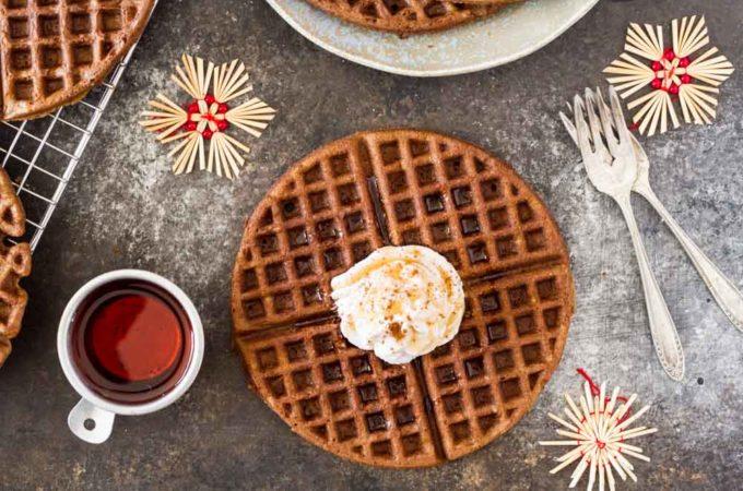Gingerbread Waffles with Maple Cream (gluten free) | www.savorylotus.com