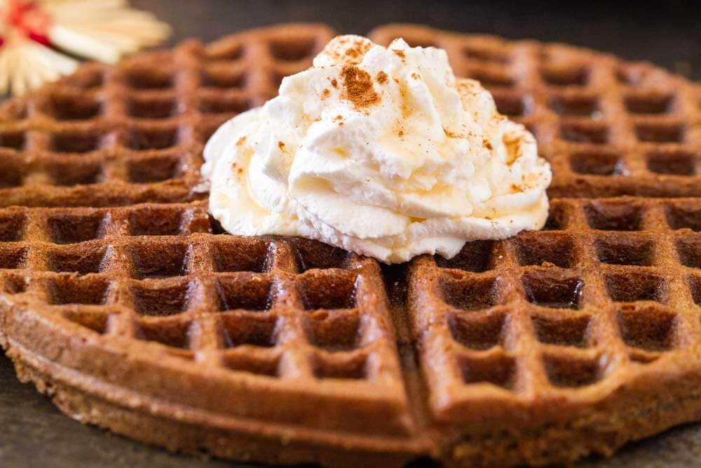 Gingerbread Waffles with Maple Cream (gluten free) -- www.savorylotus.com