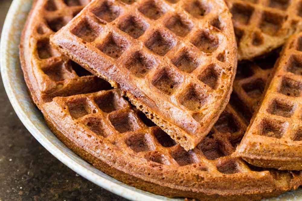 Gingerbread Waffles with Maple Cream (gluten free) ~~~ www.savorylotus.com