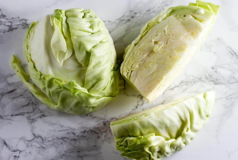 sliced cabbage on marbel counter