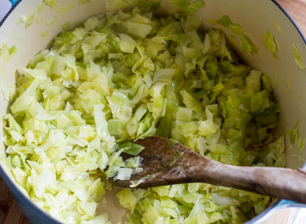 Finnish Cabbage Casserole (gluten free, cabbage cooking in pot) -- www.savorylotus.com