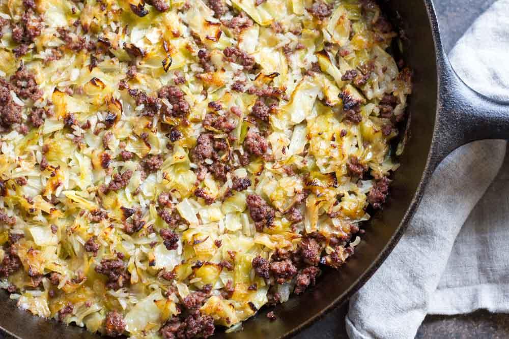 Finnish Cabbage Casserole (gluten free, cabbage, rice, beef in skillet)