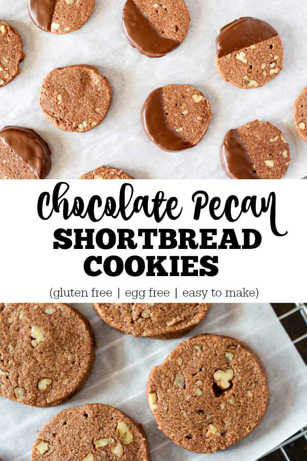 Chocolate Pecan Shortbread Cookies (gluten free) - www.savorylotus.com