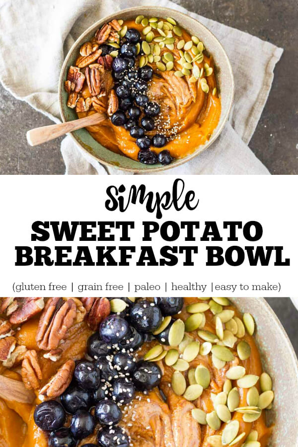 Simple Sweet Potato Breakfast Bowl (gluten free, grain free) - www.savorylotus.com