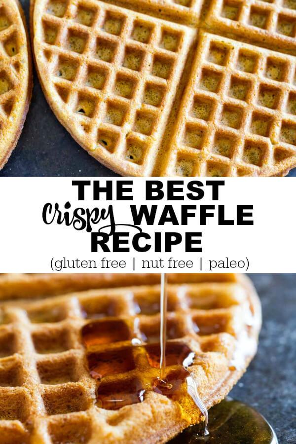 The Best Crispy Waffle Recipe (gluten free, nut free, paleo) - www.savorylotus.com
