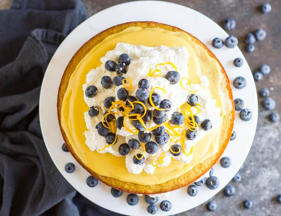 top view of lemon curd cake