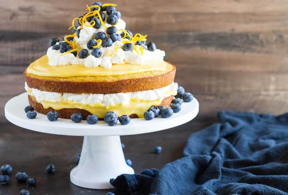 lemon curd cake on cake stand