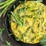 Crustless Caramelized Onion and Asparagus Quiche   www.savorylotus.com