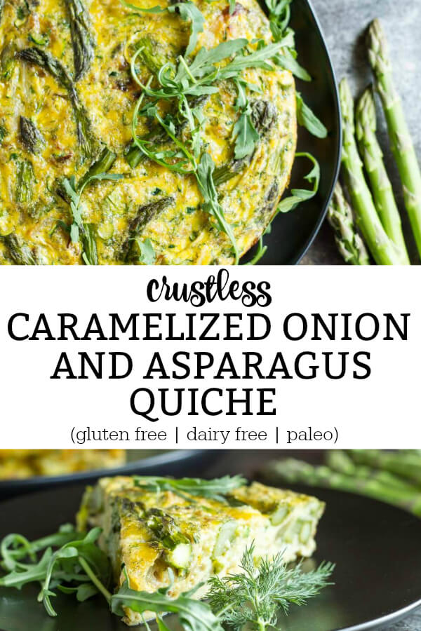 Crustless Caramelized Onion and Asparagus Quiche (gluten free, dairy free, and paleo) - www.savorylotus.com
