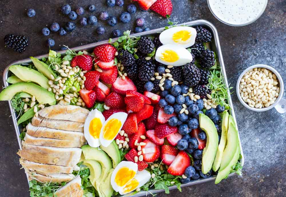 Berry Avocado Chicken Salad on metal baking tray