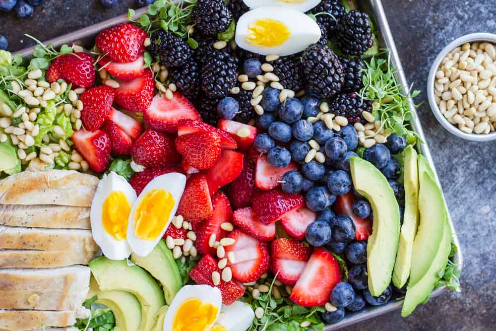 close up of Berry Avocado Chicken Salad