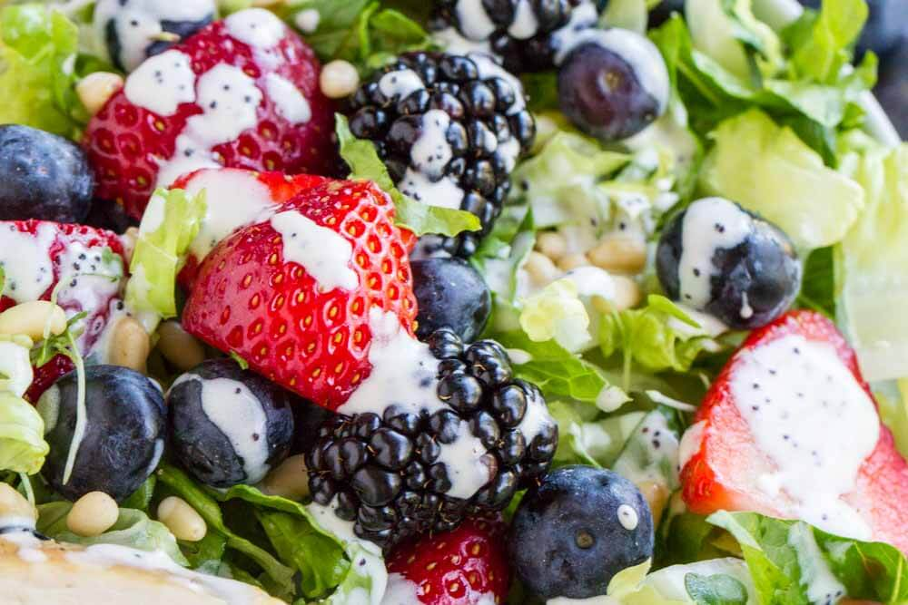 Berry Avocado Chicken Salad with Creamy Poppyseed Dressing ----- www.savorylotus.com