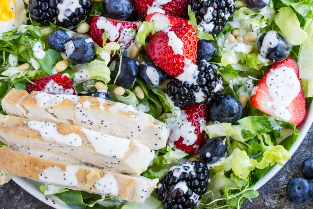 Berry Avocado Chicken Salad with Creamy Poppyseed Dressing ---- www.savorylotus.com