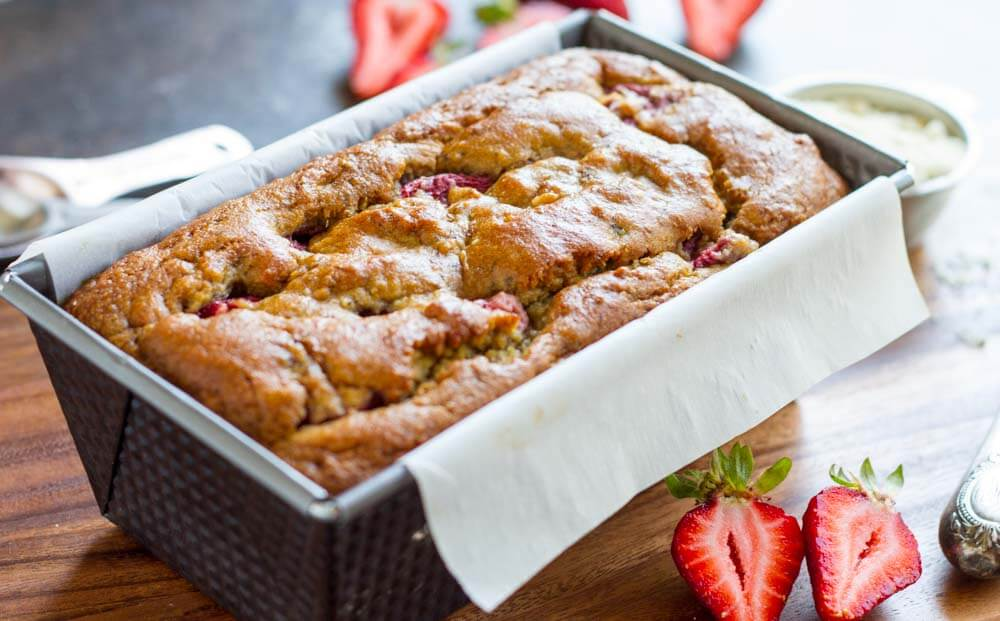whole loaf of Strawberry Banana Bread
