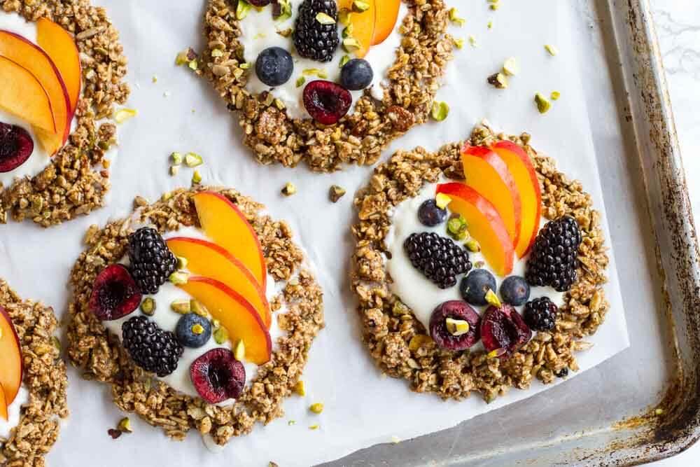 No Bake Granola Breakfast Cookies on metal baking sheet