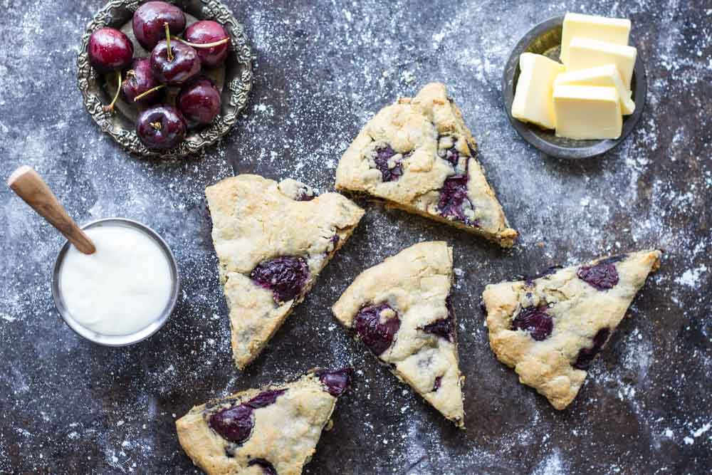 Fresh Cherry Vanilla Scones (gluten free and nut free) | www.savorylotus.com