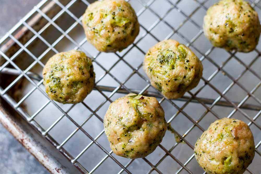 Broccoli Chicken Meatballs on baking tray