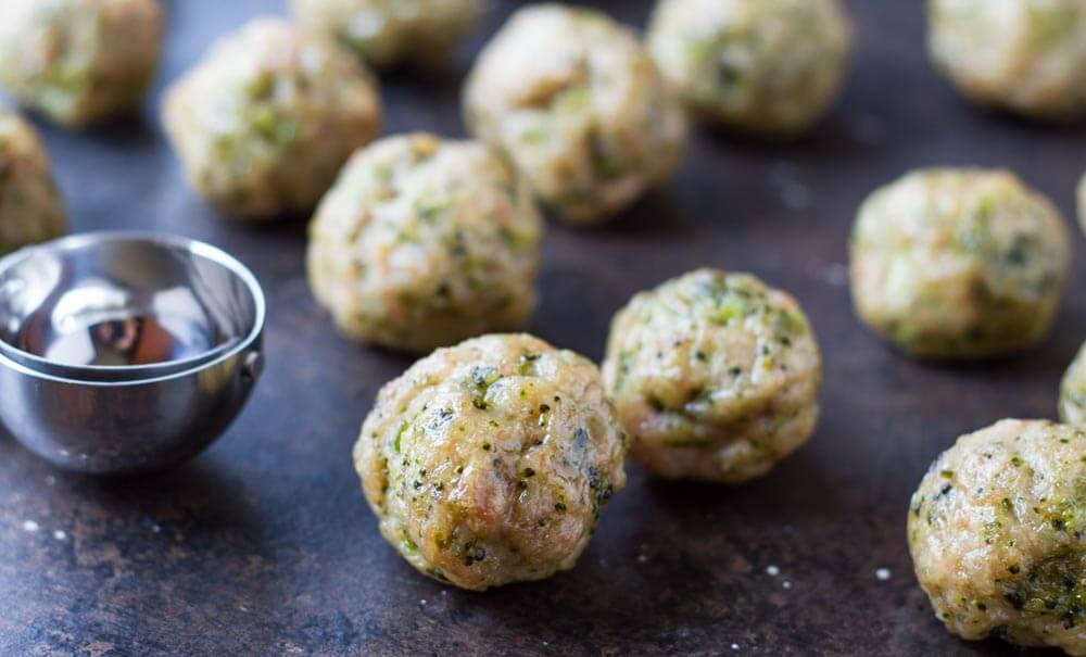Broccoli Chicken Meatballs on table