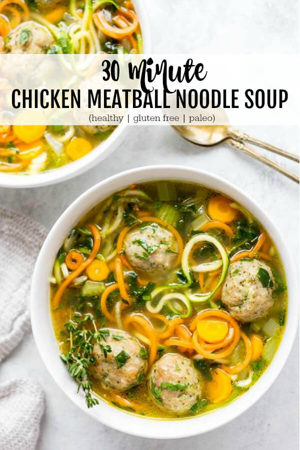 30 Minute Chicken Meatball Noodle Soup (gluten free and paleo) - www.savorylotus.com