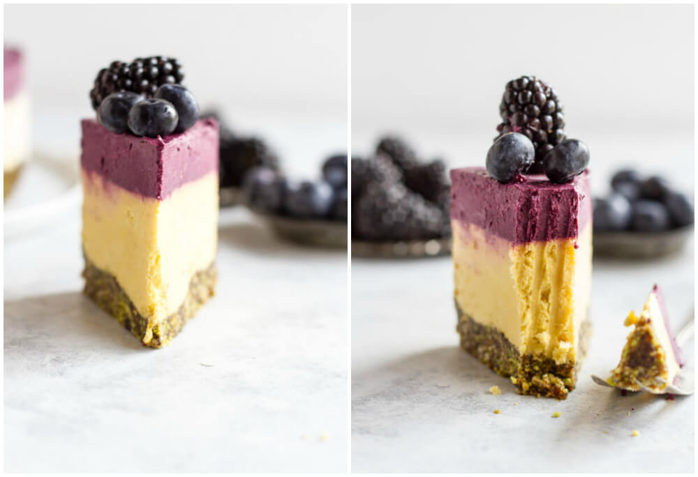 side view of a slice of mango blackberry cheesecake