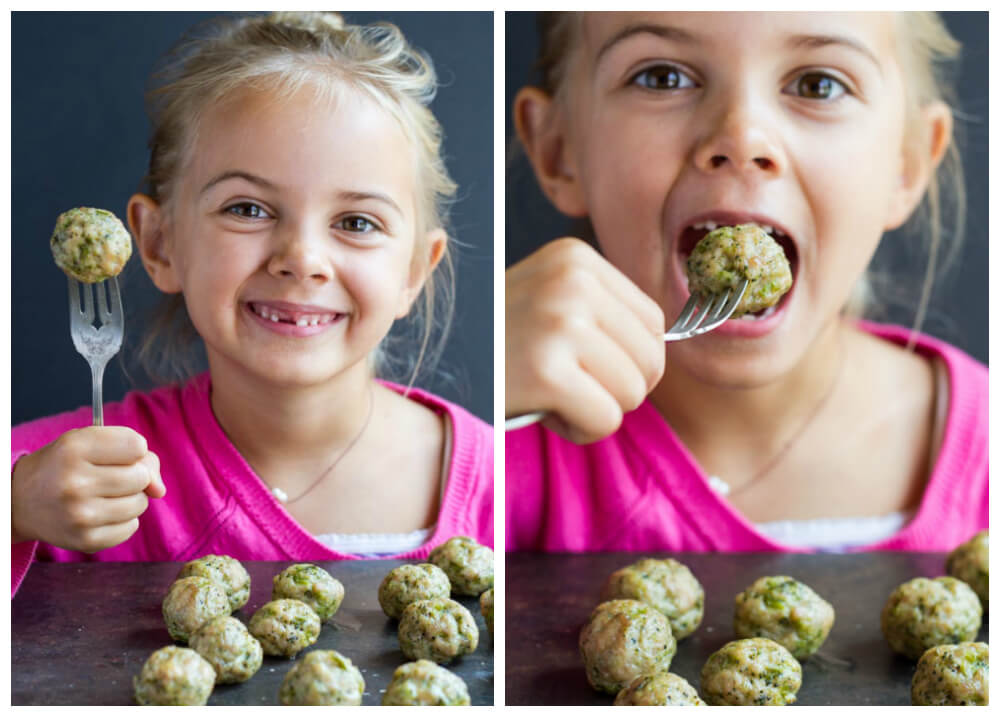 young girl biting into a  Broccoli Chicken Meatballs