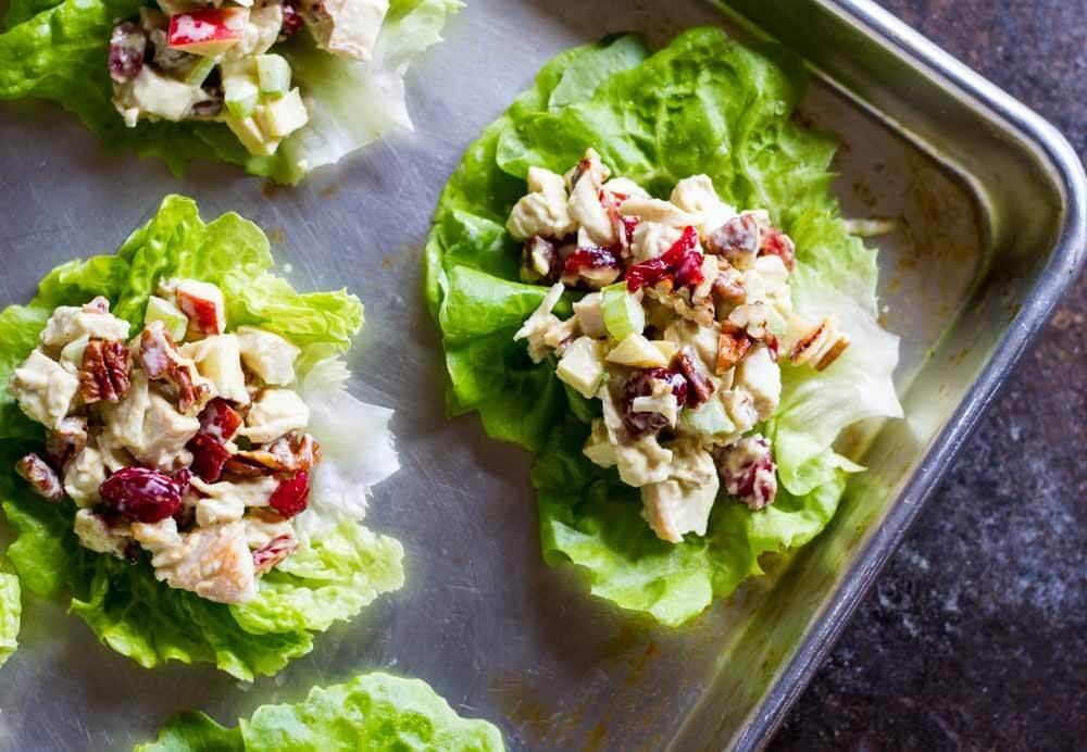 Cranberry Apple Chicken Salad on lettuce wraps