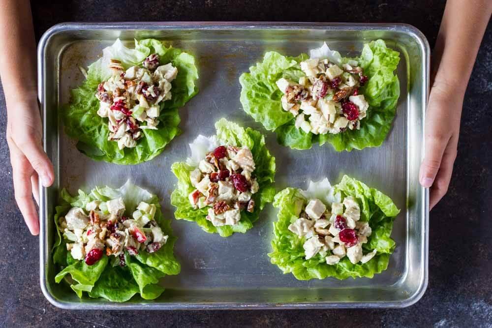 Cranberry Apple Chicken Salad on metal baking sheet