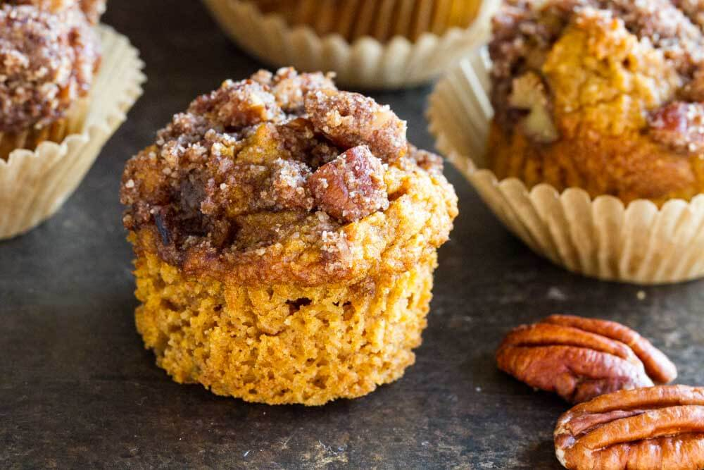 Mini Pumpkin Muffins with crumble on top