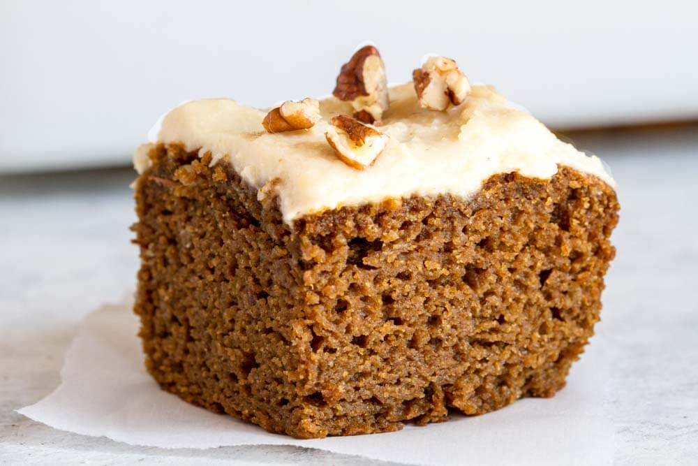 close up of a piece of pumpkin cake