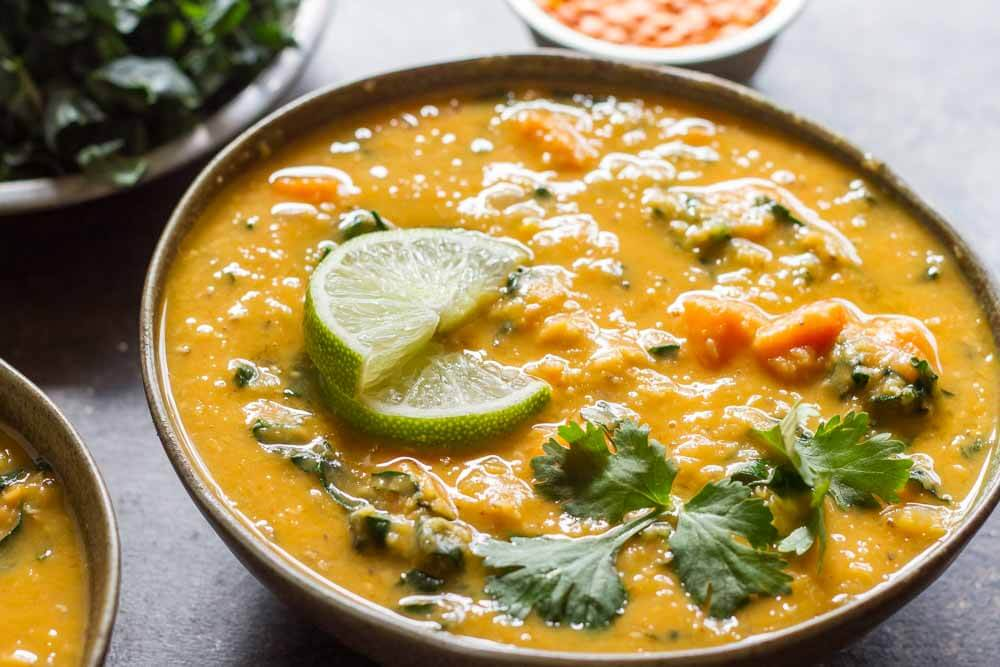 Thai Red Curry Lentil Soup in green bowl