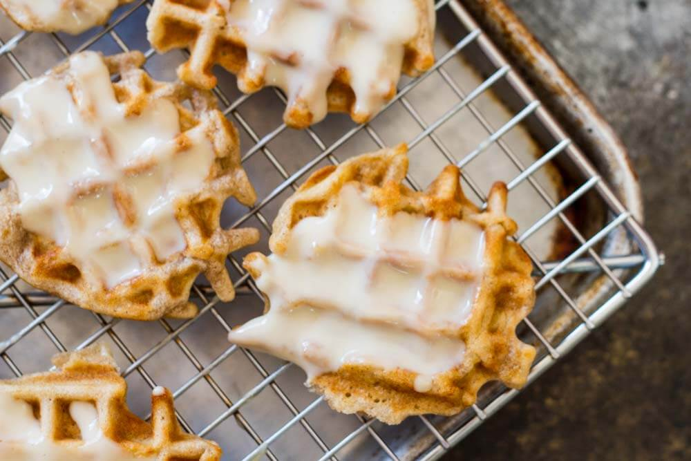 Mini Apple Fritter Waffles with white glaze