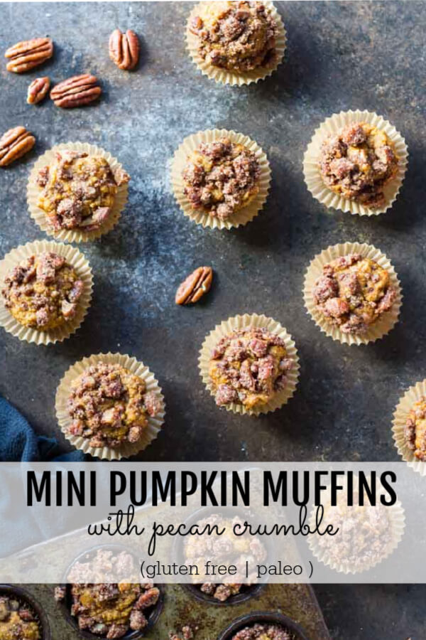 Mini Pumpkin Muffins with pecans next to them