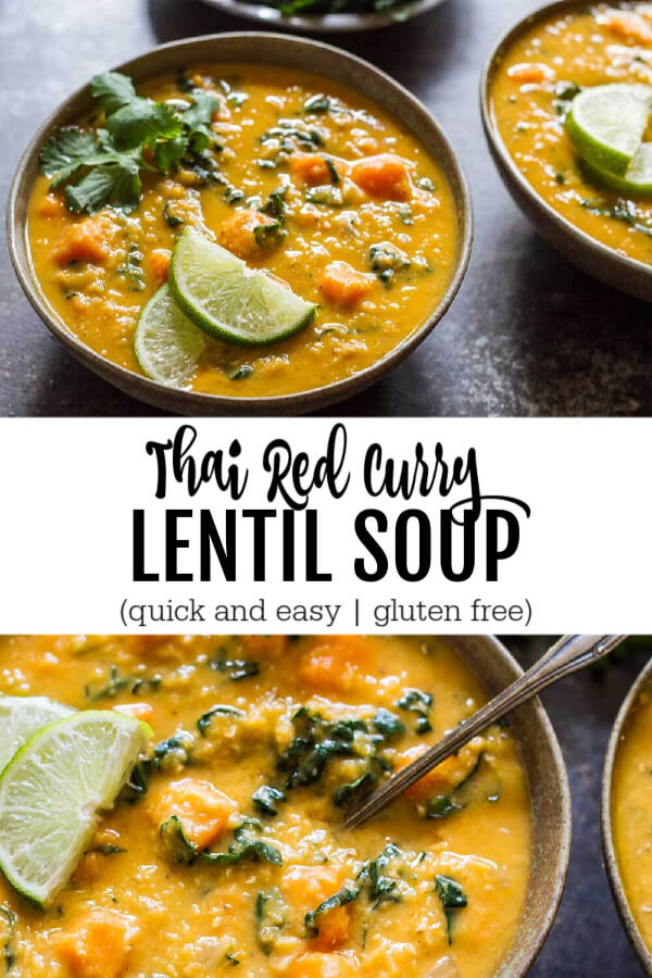Thai Red Curry Lentil Soup with lime and cimatro on top in a green bowl