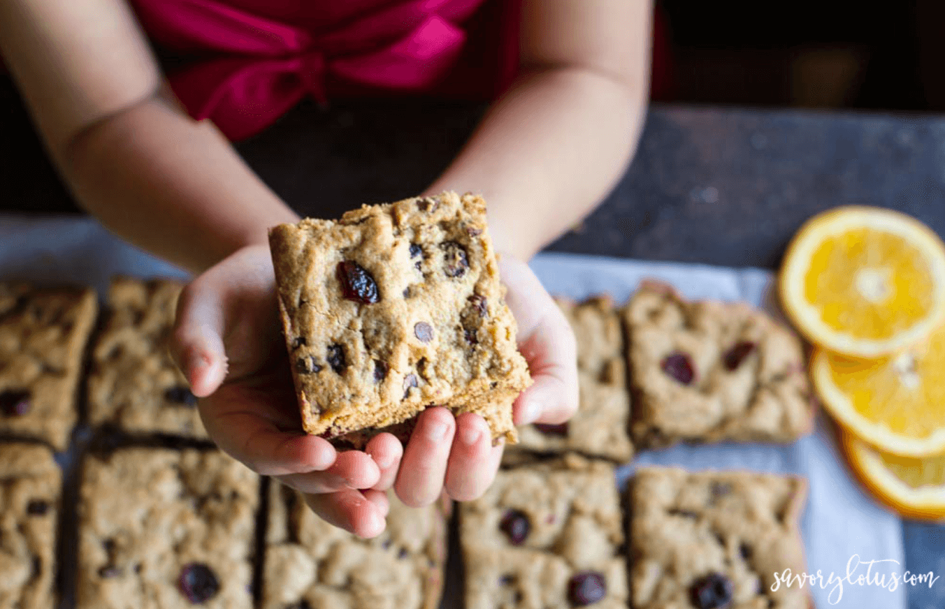 20 Healthy Edible Gift Ideas | cranberry orange chocolate chip cookie bars