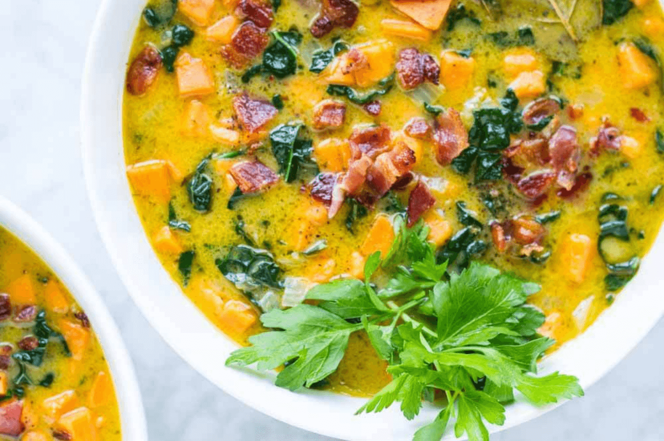 30 Easy Whole30 Soup Recipes | creamy bacon sweet potato chowder - savory lotus