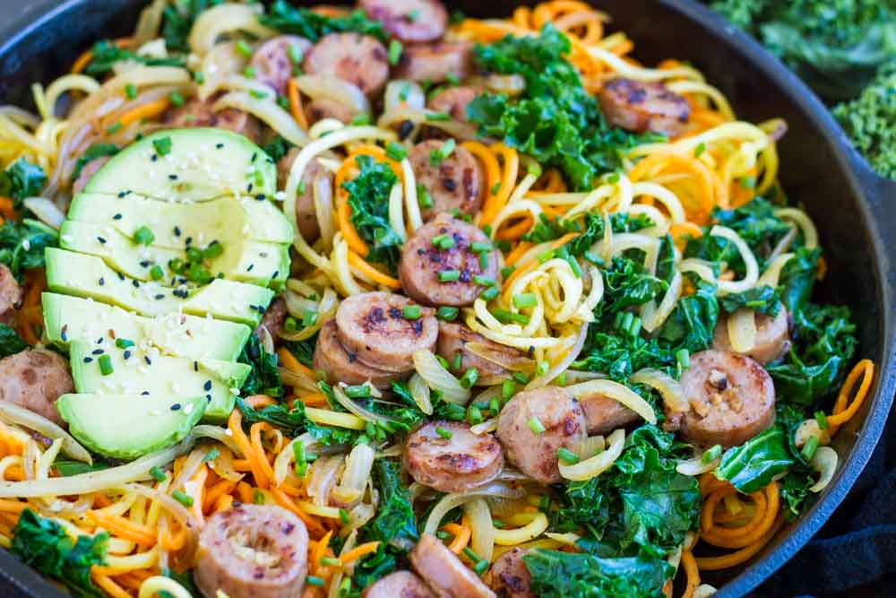 Sweet Potatoes with Sausage and Kale in cast iron