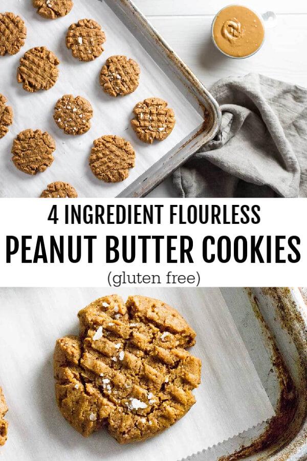 4 Ingredient Flourless Peanut Butter Cookies (gluten free) - www.savorylotus.com