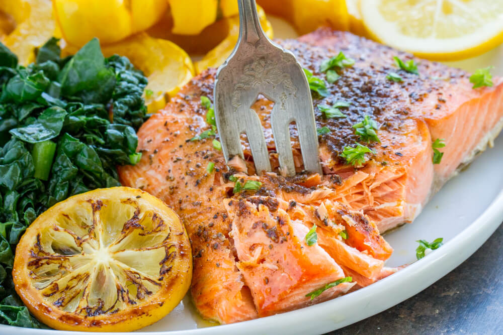 close up of a fork in Broiled Salmon