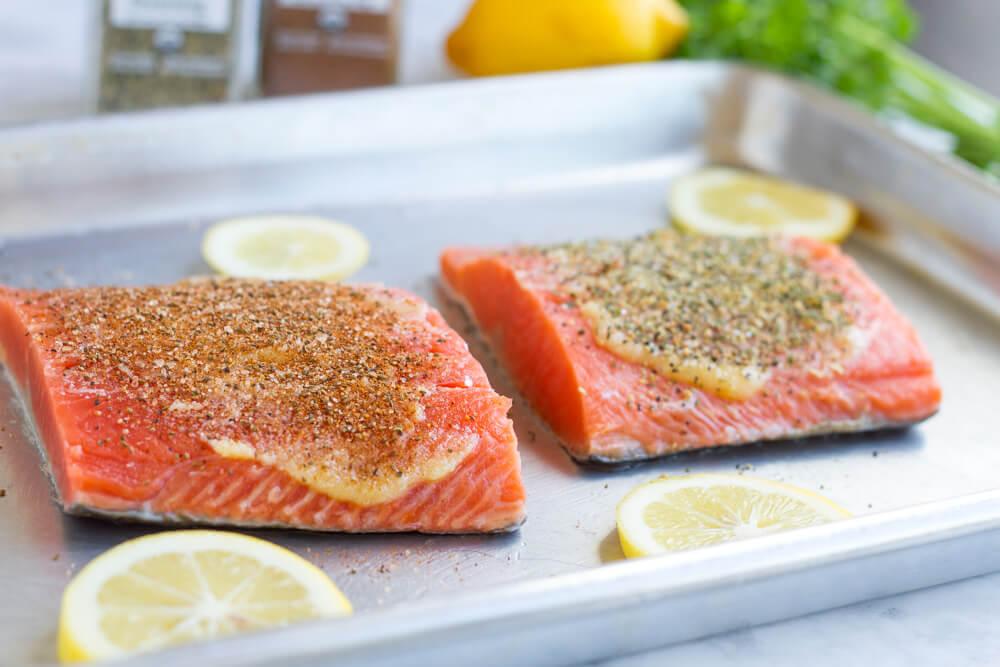 Salmon on metal baking sheet