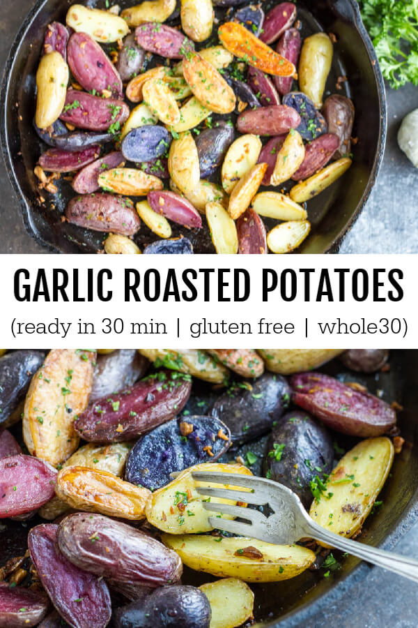 Garlic Roasted Potatoes in a black cast iron skillet